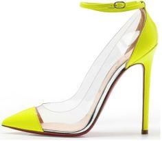 Christian Louboutin neon yellow PVC pumps
