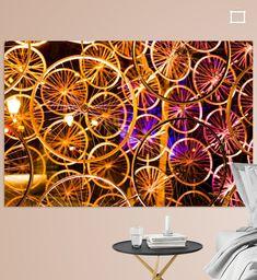Kunstwerk gemaakt van fietswielen in oranje verlichting Tapestry, Canvas, Prints, Home Decor, Art, Hanging Tapestry, Tela, Art Background, Tapestries