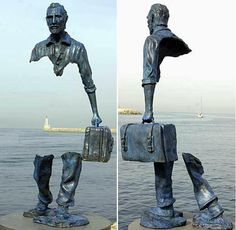 """""""Sometimes things fall apart so that better things can fall together"""". Sculpture by Bruno Catalano."""