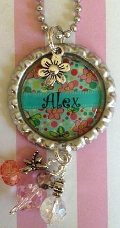 Custom personalized bottle cap necklace with full bling, flower charm,  purse bling, kids, gift idea. $14.00, via Etsy.