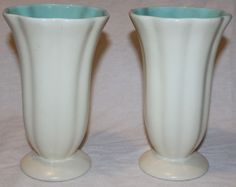 VTG PAIR Catalina pottery Vase California Art Fluted Scalloped 8in Eggshell Teal #Catalina #Pottery #Art #California #Vintage #Gift #Christmas