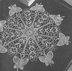 vintage+afghan+crotched+patterns | 1951 Butterfly Doily Vintage Crochet Pattern PDF 213