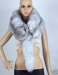 Women Real Fox Fur Handmade Scarf Collar Shawl Scarves Winter Wrap Stole New