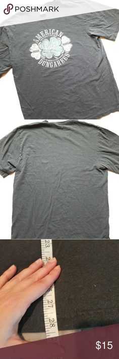{Mens} Lucky Brand t shirt In great condition! Gray, white, light blue in color. Says American Dungarees Lucky on the front. Length measurement provided in pic above. 100% cotton. From a smoke and pet free home. Fast shipping! Office - Vacation  - Fun - Dress up - date night - cruise - spring - summer *IF YOU LIKE MY ITEMS, please FOLLOW ME to see NEW ARRIVALS that are added weekly! * Lucky Brand Shirts Tees - Short Sleeve