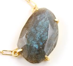 Natural Rose Cut Labradorite Handcrafted & Prong Set in Sterling Silver w/ 24k Gold Vermeil, Statement Necklace, Sold as 1 Piece (BKC/9082) by Beadspoint on Etsy