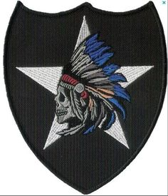 Pair of 2nd Infantry Division 2nd Infantry Indian Shoulder Sleeve Insignia and a Indian Skull Insignia - You get Two Patches