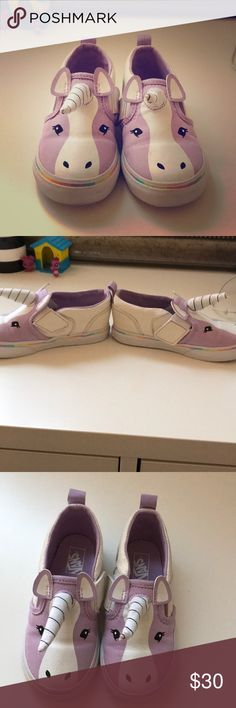 Toddler unicorn vans Super cute toddler unicorn vans size 8.5. My daughter wore for one day and never wore again. Pics of the great condition they're in! Vans Shoes Sneakers