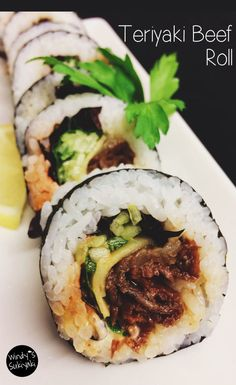Beef in sushi rolls? It's very tasty!! Beef Teriyaki Roll for non-raw-fish customers! | Japanese Restaurant in Ogden UTAH | Windy's Sukiyaki
