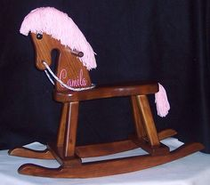 Personalized Toddler Rocking Horse pink mane by weaverwood on Etsy, $69.95