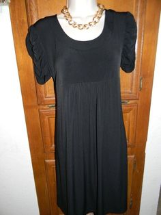 1e85d497c7699 Duo Maternity Dress Size Medium M 8 10 Black Short Ruched Sleeves Career  EUC *