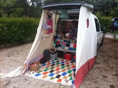 Diy canvas tent off car.  Bulky to store?