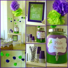 "Tinker Bell Party, purple & green, Pixie Punch, fairly party, ""Faith, Trust, & Pixie Dust"""