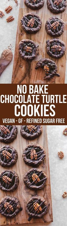 No Bake Chocolate Turtle Cookies that are Vegan, Dairy Free, and Gluten Free! Healthy Cookies have never been so easy or tasted so good. #vegan #plantbased #nobake #chocolate #chocolateturtle #healthy #healthycookie #chocolatecookie #vegancaramel #vegancookie #pecan frommybowl.com