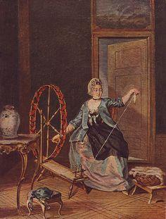En kvinna från Näs herreård, Uppland, spinner bomull på långrock