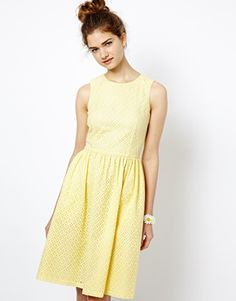 Enlarge French Connection Spring Silhouette Dress in Jersey with Embroidered Detail