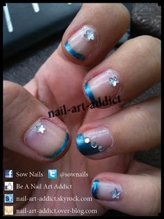 Nail Art : French Manucure http://www.nail-art-addict.blogspot.fr/2011/10/french-manucure-turquoise-et-strass.html