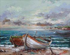 boats painting by Emil Ciubotaru Watercolor Landscape, Landscape Art, Landscape Paintings, Watercolor Paintings, Boat Art, Boat Painting, Seascape Paintings, Beautiful Paintings, Painting Inspiration