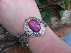 Fire Opal Bracelet Hearts Bracelet Victorian Dragon's Breath Spring gift Sale #ArtistiqueJewelry #Statement
