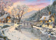 Winter Evening Dusk by Thomas Kinkade, 1000 Piece Jigsaw Puzzle. A winter sunset descends on this village, the warmth and light from its inhabitants cottages provides refuge to those who wish to come in from the cold Thomas Kinkade Puzzles, Thomas Kinkade Art, Thomas Kinkade Christmas, Winter Szenen, Winter Magic, Painting Snow, Winter Painting, Winter Pictures, Christmas Pictures