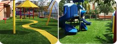 Artificial turf makes a great surface for playground areas.