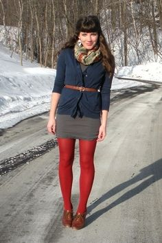 Fall/Winter Outfit: Scarf + Navy Blue Cardigan + Grey/Gray Dress + Brown Belt + Red/Colored Hue Tights + Brown Oxfords