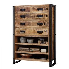 Hoge commode Himalaya - massief mangohout/ijzer Malm, Vintage Industrial Decor, Wine Rack, Manchester, Cabinet, Storage, Furniture, Home Decor, Louis Xvi