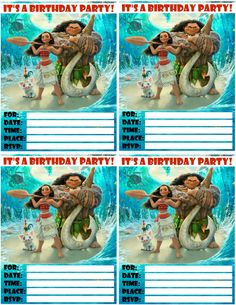 The kids will love these free printable invitations featuring Moana and Maui