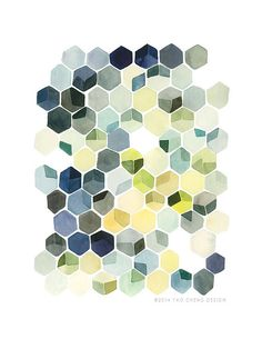 Hey, I found this really awesome Etsy listing at https://www.etsy.com/es/listing/184344227/hexagon-shadows-watercolor-art-print