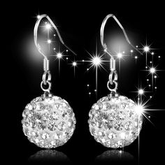 New Trendy 100% Genuine 925 Sterling Silver Crystal Ball Women Drop earring.Fine Jewelry For Female.TOP quality.