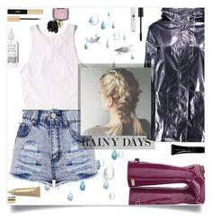 """Rainy Days"" by janemorguedoe ❤ liked on Polyvore featuring Hunter, Victoria's Secret, Hollister Co., Boohoo, Polaroid, Yves Saint Laurent, Herbivore, Giorgio Armani and Stila"
