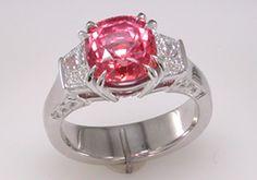 Padparadscha and Diamond Ring