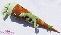 """Schultüten - Schultüte / Zuckertüte """"Gecko auf Baum"""" mit Namen - ein Designerstück von Steckkoenig-Design bei DaWanda"""