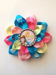 Disney Princess Hair Bows. All Disney princess on a bottle cap. on Etsy, $5.00