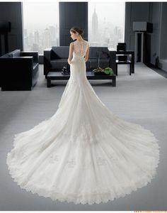 2015 Meerjungfrau Außergewöhnliche Luxuriöse Brautkleider aus Softnetz mit Applikation