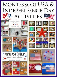 Montessori United States of America and Independence Day Activities!   Educational trays and ideas with resources and printables for learning about the USA and celebrating this 4th of July!