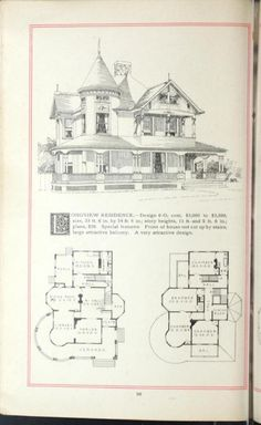 Artistic homes / Herbert C. 1940s Home, Architectural House Plans, Vintage House Plans, Victorian Homes, Victorian Era, Plan Design, Design Ideas, House Drawing, Kit Homes