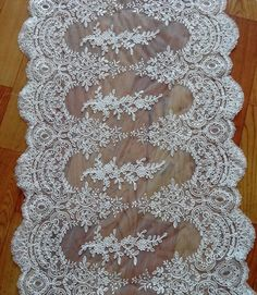 ivory bridal alencon lace fabric scallop wedding dress by lacetime