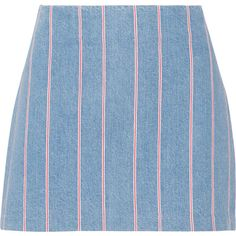 T by Alexander Wang Striped denim mini skirt ($94) ❤ liked on Polyvore featuring skirts, mini skirts, bottoms, faldas, striped skirt, blue skirt, mini skirt, stripe skirt and short denim skirts
