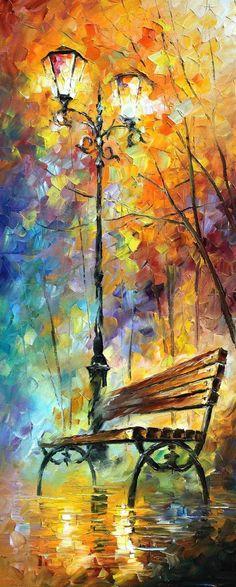 Park Bench - by Leonidafremov on deviantART - Oil and Palletknife on Canvas