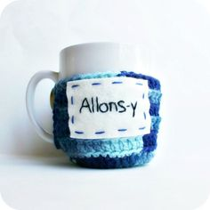 Allonsy funny coffee cozy mug cozy tea cup Doctor Who blue crochet geek nerd handmade cover