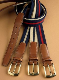 Traditional surcingle twill belts, 1 wide, with leather ends and solid brass buckles, are a handsome weekend addition to your wardrobe. Designer Belt Buckles, Designer Belts, Leather Belts, Leather Men, Men's Belts, Gucci Men, Burberry Men, Leather Wallet Pattern, Belt Shop