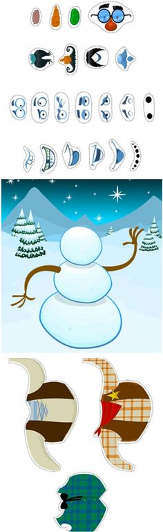 """WINTER PRINTABLES: """"Build Your Own Snowman"""": Separate sheets for Snowman Scene - Facial Expressions - Clothing - Hats & Hands - Free Printable PDF download / http://spoonful.com/winter/winter-printables"""
