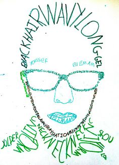 Calligram Self Portrait: Trace the outline of facial features and use adjectives that describe the feature to create the space.