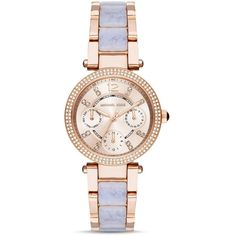 Michael Kors Mini Parker Chronograph Watch, 33mm ($295) ❤ liked on Polyvore featuring jewelry, watches, rose, chronograph watch, michael kors, chronograph watches, rose jewelry and chronograph wrist watch