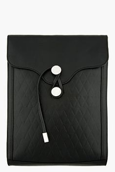 PROENZA SCHOULER Black Embossed Leather Document Clutch