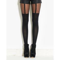 Pamela Mann Suspender Tights ($2.59) ❤ liked on Polyvore featuring intimates, hosiery, tights, leggings, accessories, bottoms, legs, medias, black and pamela mann hosiery