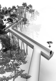 The zig-zag design. Bridges Architecture, Landscape Architecture Design, Water Architecture, Berlin Zoo, Parque Linear, Landscape Stairs, Sky Walk, Bridge Design, Pedestrian Bridge