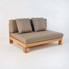 Teak outdoor seating piece from the Coast collection serves as the Center piece to a complete linear sectional configuration. Clean contemporary styling.