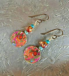 Handmade Earrings, Bohemian Dangles, Crystals, Czech Glass Beads, Hand Stamped and Painted Brass Disk, Antique Brass and Gold Findings by GreenLeavesBoutique on Etsy