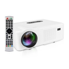 GBTIGER Home Projector 3000Lumens HD LCD LED Home Theater with Analog TV Interface Business Education Cinema Projector with Controller, White